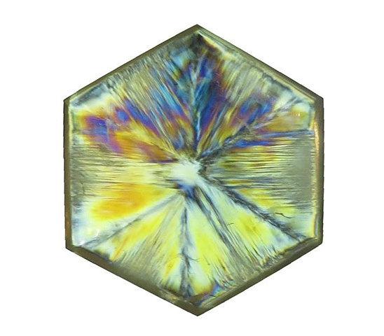 """Catch the Rainbow."" A trapiche quartz in polarized light. (Photo courtesy Martin P. Steinbach)"