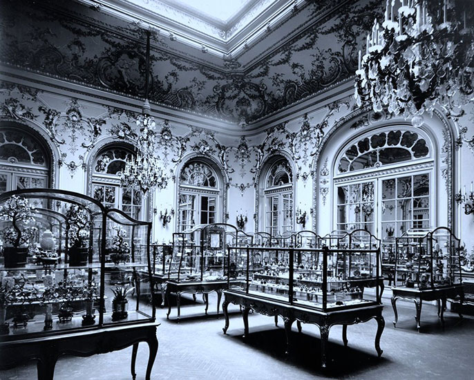 The jade collection of Trustee Heber R. Bishop (1840–1902; donor of two of the carvings above), as installed in a replica of the Louis XV–style ballroom of his Fifth Avenue mansion (gallery 206), photographed in 1903. From The Met exhibition Asian Art at 100: A History in Photographs, also up through October 11, 2017. (Photo courtesy of The Met; click to enlarge)
