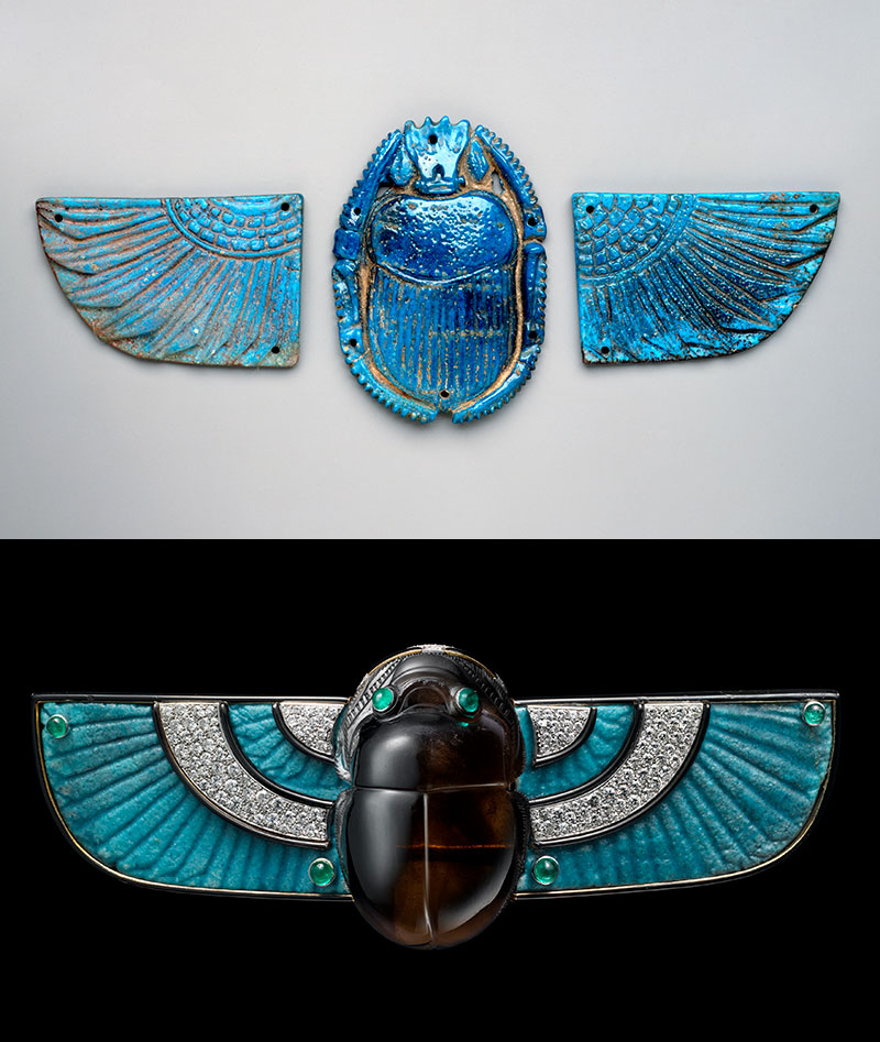 Winged scarab.   740–660 B.C. Faience. Hay Collection—Gift of C. Granville Way. (Photograph © Museum of Fine Arts, Boston)   Brooch.   Cartier (French, founded in 1859). French, 1924. Faience, diamond, emerald, smoky quartz, and enamel. Vincent Wulveryck, Cartier collection. © Cartier. (Photo courtesy, Museum of Fine Arts, Boston)