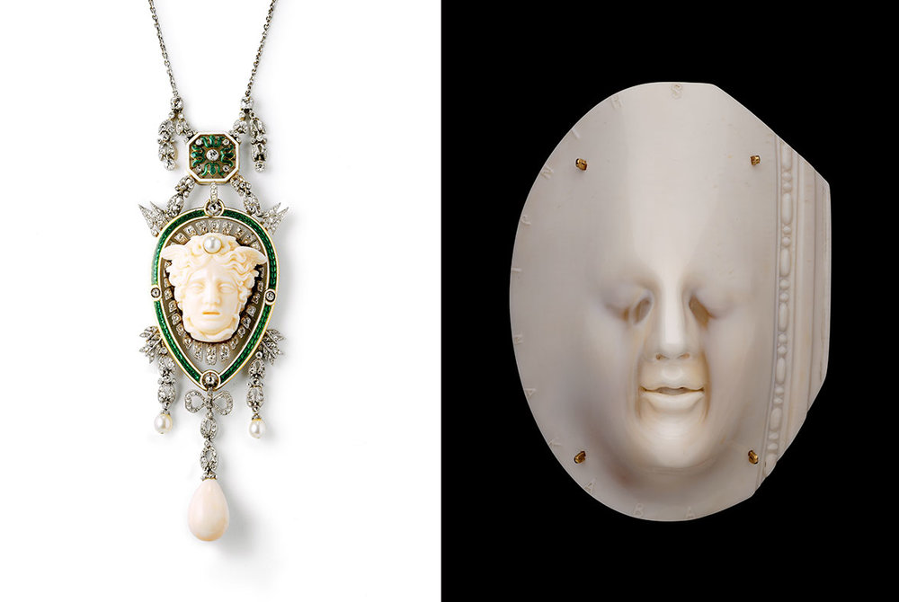Head of Medusa pendant. Cartier (French, founded in 1859). French, 1906. Platinum, gold, enamel, diamond, pearl, and coral. Photo: Nick Welsh, Cartier Collection. © Cartier. (Photo courtesy, Museum of Fine Arts, Boston) Peace Brooch. Shinji Nakaba (Japan, born in 1950). 2011. Helmet shell (aragonite), 18 karat gold, oxidized stainless steel. Museum purchase with funds donated by Yvonne J. Markowitz in honor of Toni Strassler. (Photograph © Museum of Fine Arts, Boston)