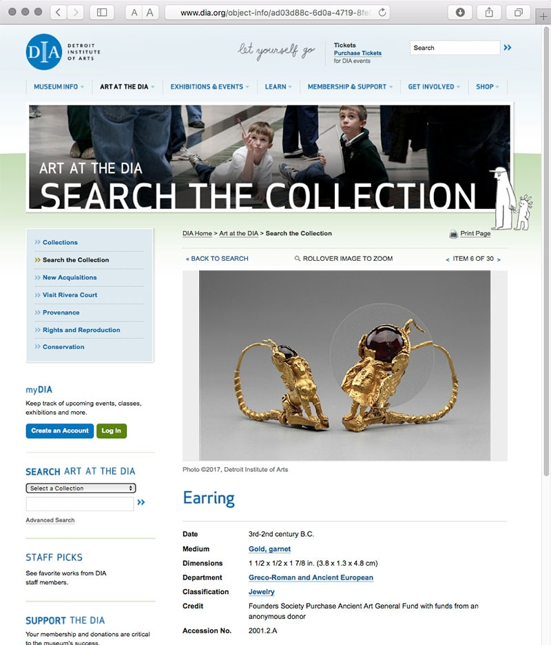 Despite its status as a potential cash cow for its city emergency manager, Detroit Institute of Arts has been able to fend off the bankruptcy sharks. DIA's 100+ galleries and holdings make it one of the top six U.S. museums in terms of comprehensive scope. Images of its collection are online. Above, a desktop computer screenshot shows the rollover zoom function on an earring.