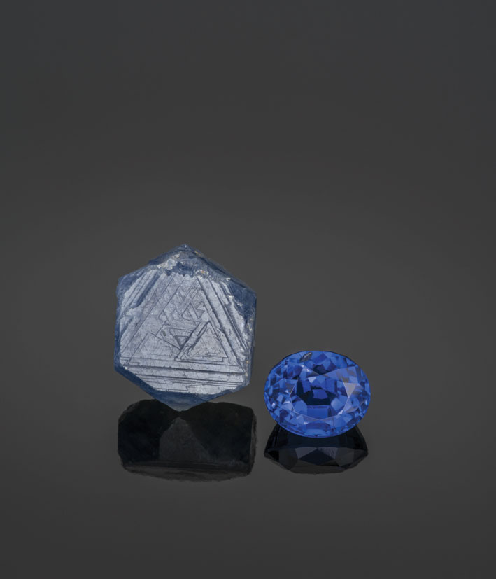 Superb examples of rough (18 mm) and cut (11.67 ct) sapphires. From Chapter 10, Judging Quality: A Connoisseur's Guide. (Photo: Robert Weldon; specimens: William Larson collection)