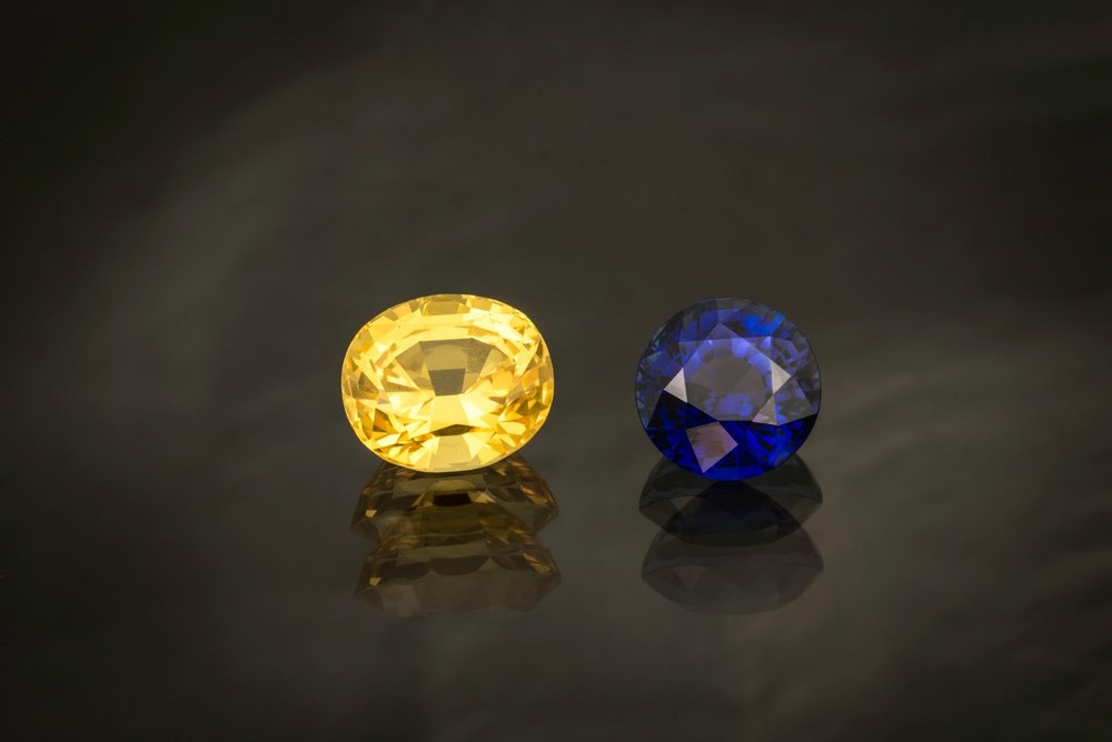 """Viva Sverige!"" says Mia Dixon, Pala International's resident photographer, regarding the colors of her native Sweden. She shot this 9.71-carat Sri Lankan yellow sapphire and its companion, a 8.01-carat blue sapphire from Madagascar."