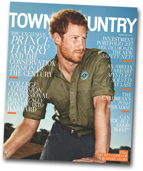 Not to be completely outdone by his stately grandmother (above), Prince Harry is cover star for this month's Town & Country.
