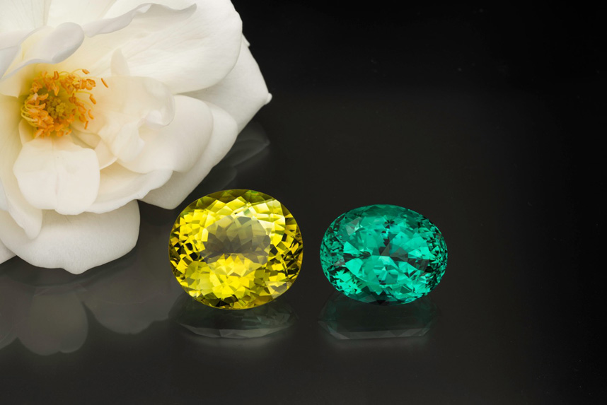 Neon tourmalines, apparently from two African localities on opposite sides of the continent. (Photo: Mia Dixon)