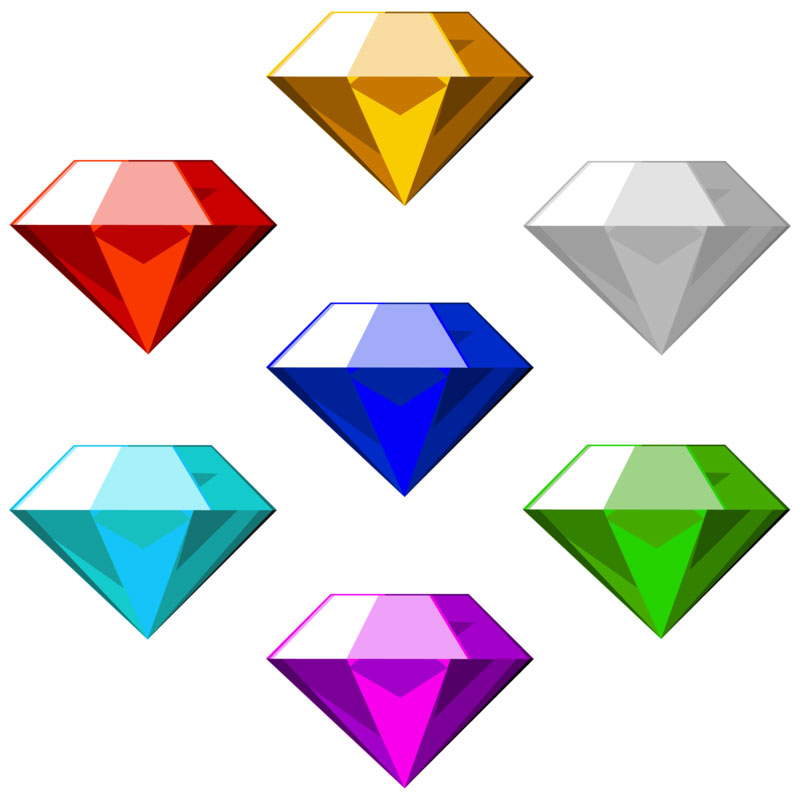 "Chaos Emeralds? You may not be aware of it but Sonic the Hedgehog is as recognized a video-game character in Japan as Mario is elsewhere. (Both games were created by Japanese designers.) Integral to the game are the seven Chaos Emeralds [sic] pictured above. According to Wikipedia the emeralds can ""turn thoughts into power, warp time and space with a technique called Chaos Control, give energy to all living things, and be used to create nuclear or laser based weaponry. Just the sort of thing for our occasional—and timely—feature, Emerald Aisle."