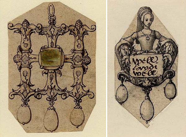 "Two designs by Hans Holbein the Younger in a transnational style (Swiss, German, British), both from the ""Jewellery Book."" Left, a pendant in the form of the monogram ""HI,"" set with an emerald and three drop pearls, ca. 1536–1537. Right, a pendant of a lady holding a stone atop three drop pearls, ca. 1532–1543. These images do not appear in  Concerning Precious Stones and Jewels . (Images: The British Museum)"