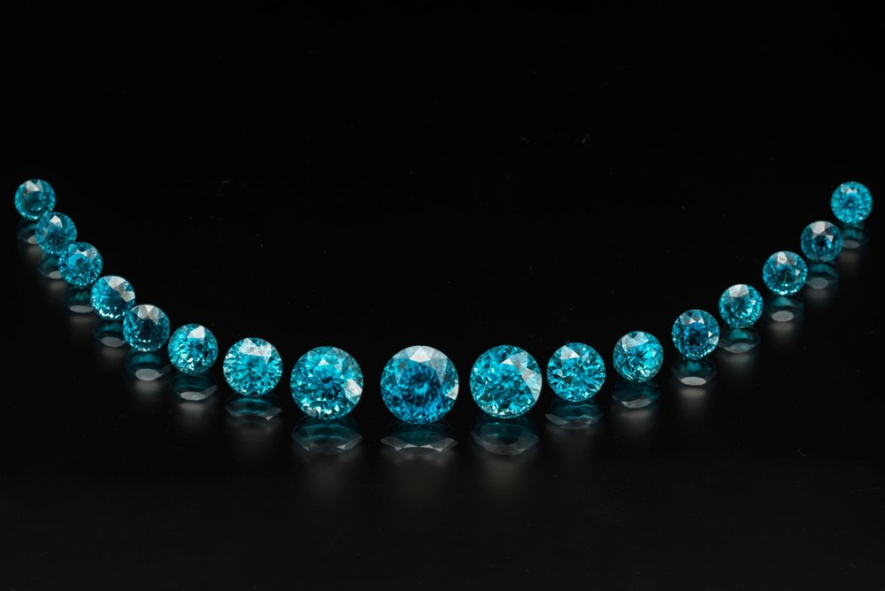 Sweet suite. Seventeen Cambodian zircons, 71.80 carats total. Ask for Inventory #23411. (Photo: Mia Dixon)