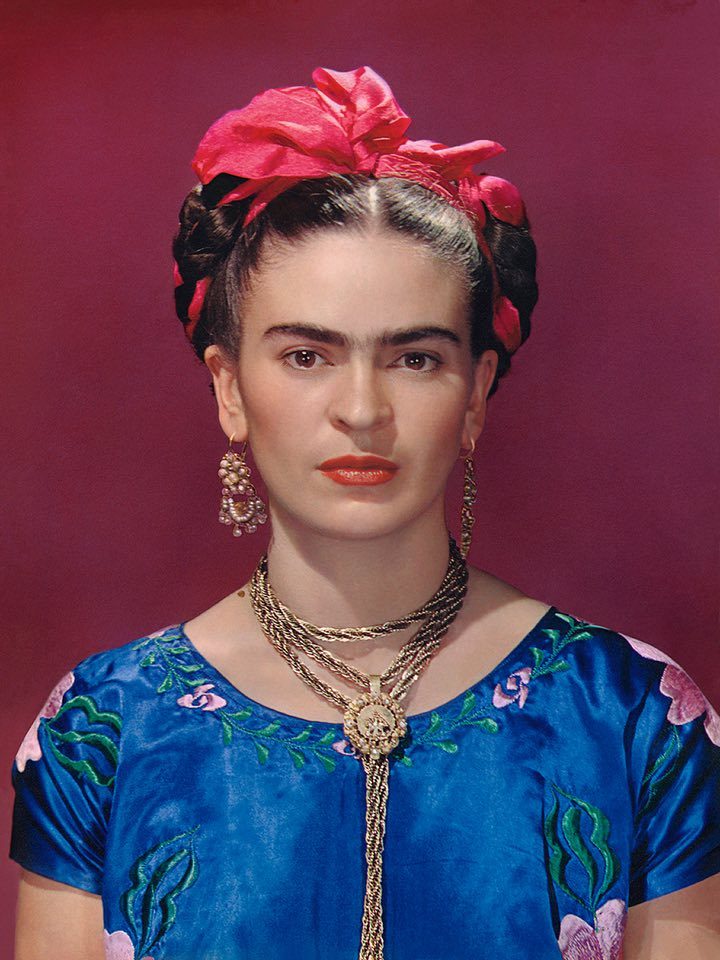 Frida with Blue Satin Blouse, New York 1939. Photo from the traveling exhibition Frida Kahlo: Through the Lens of Nickolaus Muray.