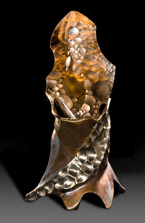 "Alluvial Grotto, carved citrine quartz with black tourmaline on lighted bronze base, 9"" h. (Photo: Gary Alvis)"