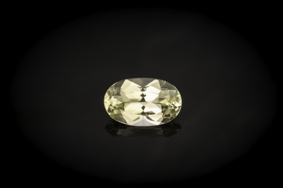 Pale yellow 7.89 cts. oval euclase. (Photo: Mia Dixon)