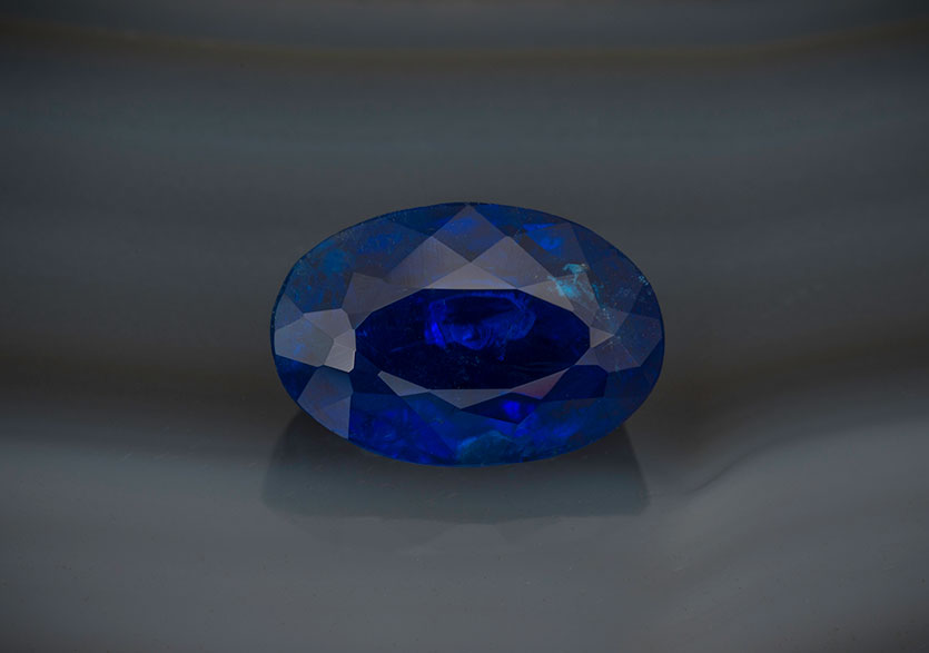 Collector's catch. This natural 5.14-carat oval lazulite from Brazil measures 12.6 x 8.48 x 6.03 mm. Inventory #23826. (Photo: Mia Dixon)