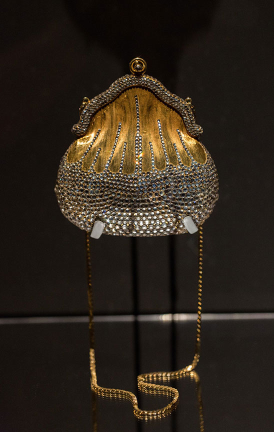 Installation view of original chatelaine with crystal rhinestones, 1967, courtesy the Leiber Collection. (Photo: Gary Mamay)