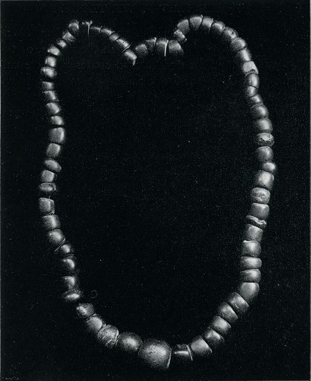 Ancient Amber Necklace.  Such rough shaped beads as these, made from Baltic amber, were largely circulated throughout Europe in pre-Christian times. This necklace is from a grave in Hallstadt, Austria, and dates from about 300 B.C. (Morgan Gem Collection, A.M.N.H. Photo by Julius Kirschner)