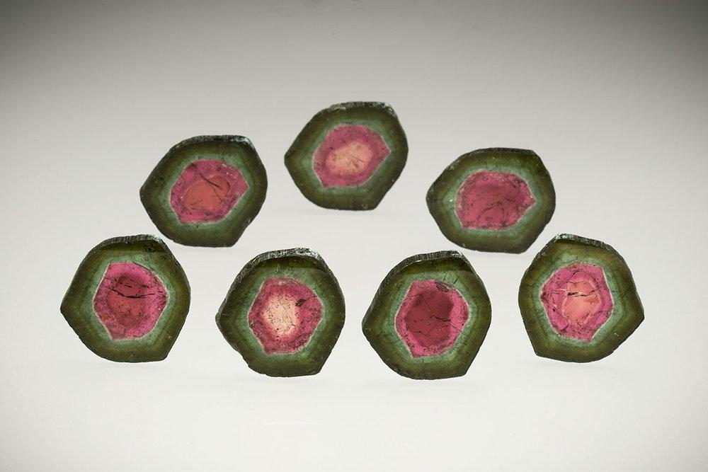 Watermelon Delight.  7 pieces 376.5 carats, 37 x 31 x 3.5 mm. (Photo: Mia Dixon)