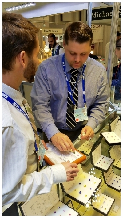 Pala International's Carl Larson and Jason Stephenson at the AGTA Tucson GemFair 2018 (Photo: Mia Dixon)