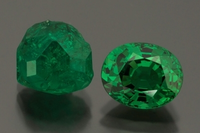 Tsavorite garnet: crystal is 9.14 cts. and faceted stone is 6.43 cts. (William F. Larson collection, Photo: Mia Dixon)