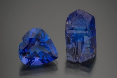 Tanzanite faceted heart is 9.66 cts,  Inventory #19054  (Photo: Mia Dixon)