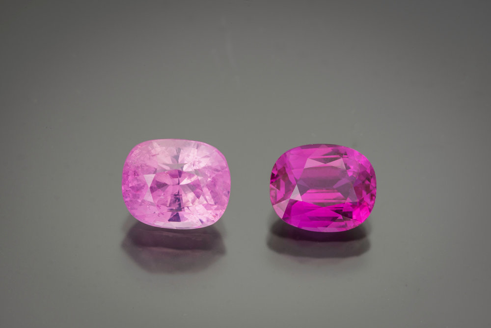 A lovely comparison. The pink sapphire is  5.73 cts  and the pink ruby is  4.42 cts  (photo: Mia Dixon)