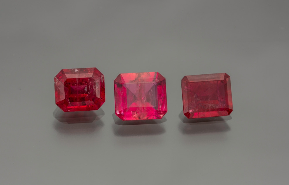 Red beryl - 1.38 cts, 1.31 cts. and 1.15 cts. (Photo: Mia Dixon)