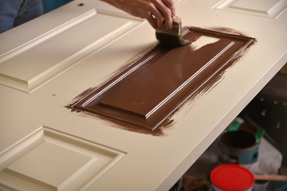 Applying base coat for a light-colored door