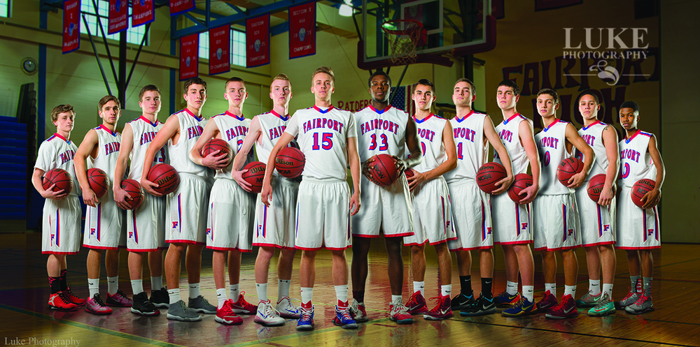 Fairport Boys Varsity Basketball team composite photo
