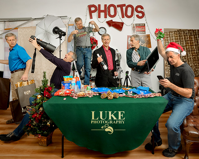The Christmas party at any sole proprietor's business can be boring, unless it's at Luke Photography...where we include everyone, including (L to R): Production Mgr., Photographer, Facility Mgr., Owner, Business Mgr. and Marketing Mgr.