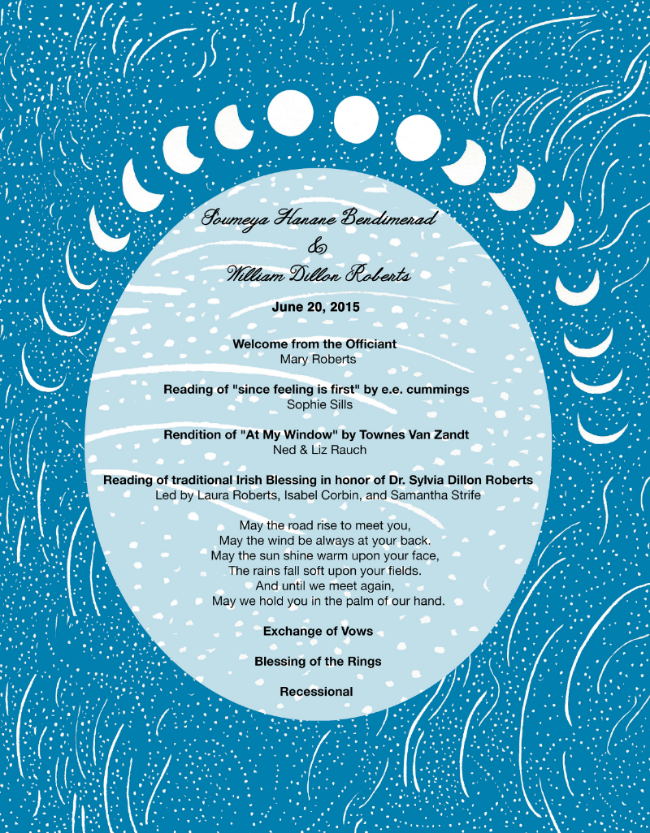 Wedding program for friends - William and Soumeya Roberts