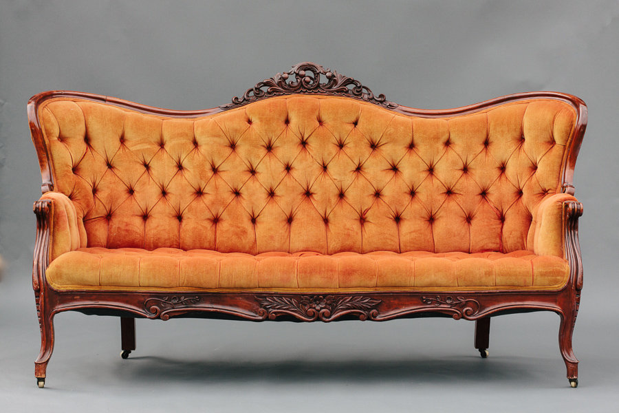 Dogwood Party Rentals | Orange Victorian Sofa
