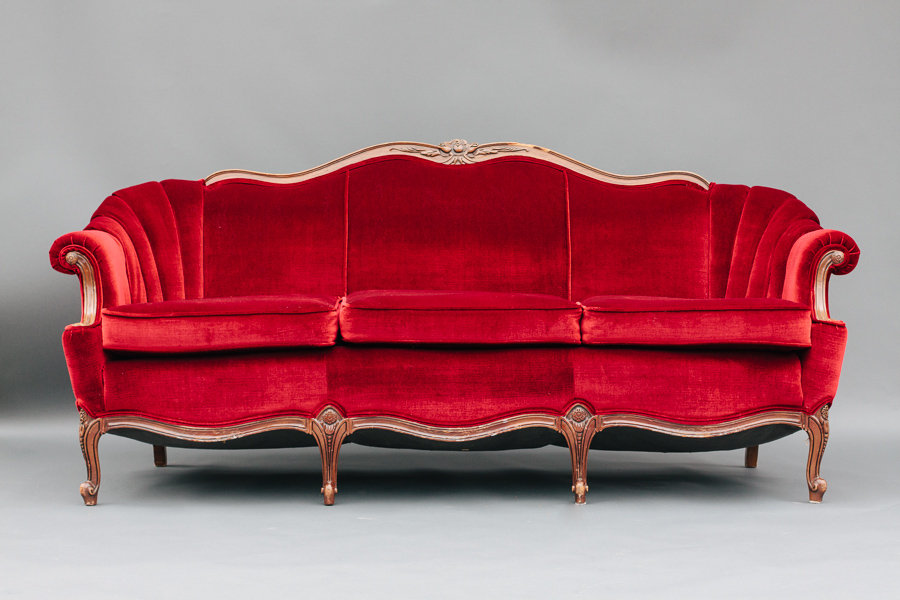 Dogwood Party Rentals | Red Velvet Sofa