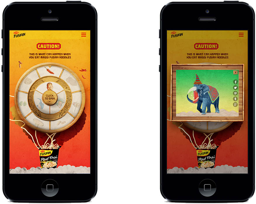 Mobile and desktop app, random gif generator to demonstrate the various flavour combinations of Maggi Fusian Noodles.