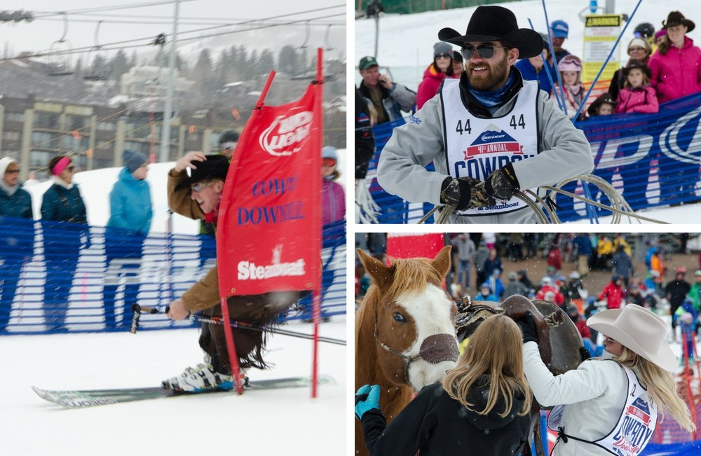 The three part race: cowboys ski a slalom, lasso a filly, and saddle a horse.