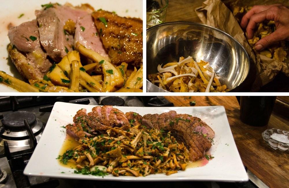 Venice cooking class — Duck with chantarelles