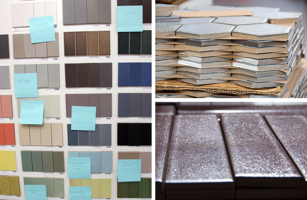 The factory makes bulk and custom orders of tile. On the right, you can see the different kinds of variation that a each glaze can produce, which is rated by a numbered scale. The customer can choose whether they want tile that's pretty much all of the same color, or one that has more variety in it.