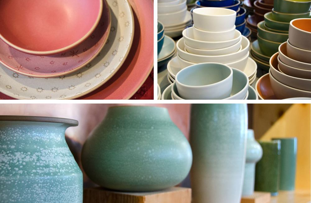 A couple of different collections —my personal favoriteisthe double layered glaze techniquethat make those textured vases you see in the bottom picture.
