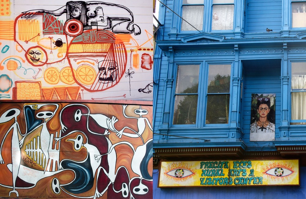 Street art and Precita Eyes on 24th Street in The Mission