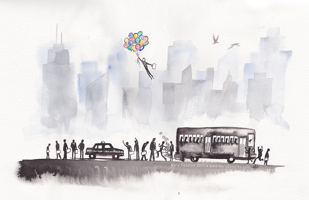 Morning Commute - artwork by Mary Doodles