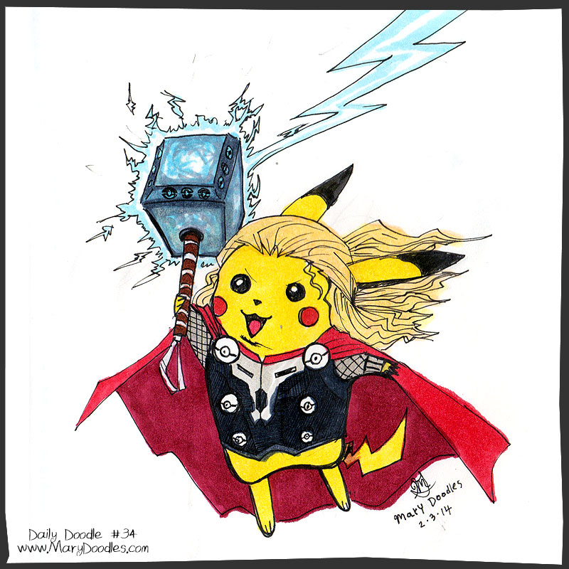 Pikachu Thor fanart by Mary Doodles