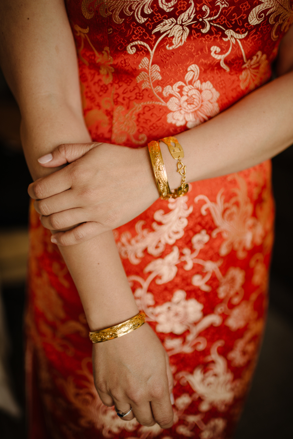 Detail photographs of bride's Cheongsam red wedding dress, Chinese tradition