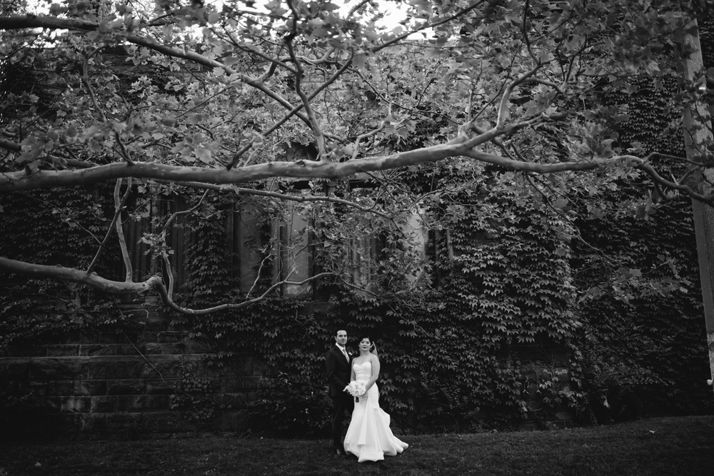 Dramatic and vintage epic portrait of Toronto bride and groom on their wedding day