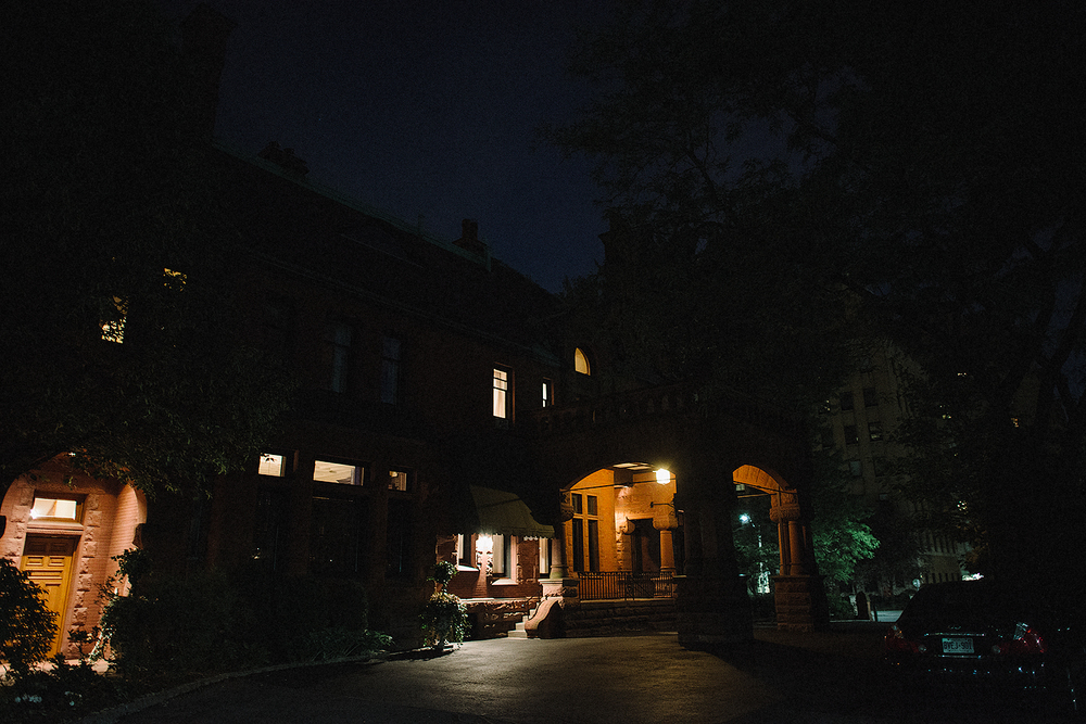 Private Club lit up at night for the downtown wedding