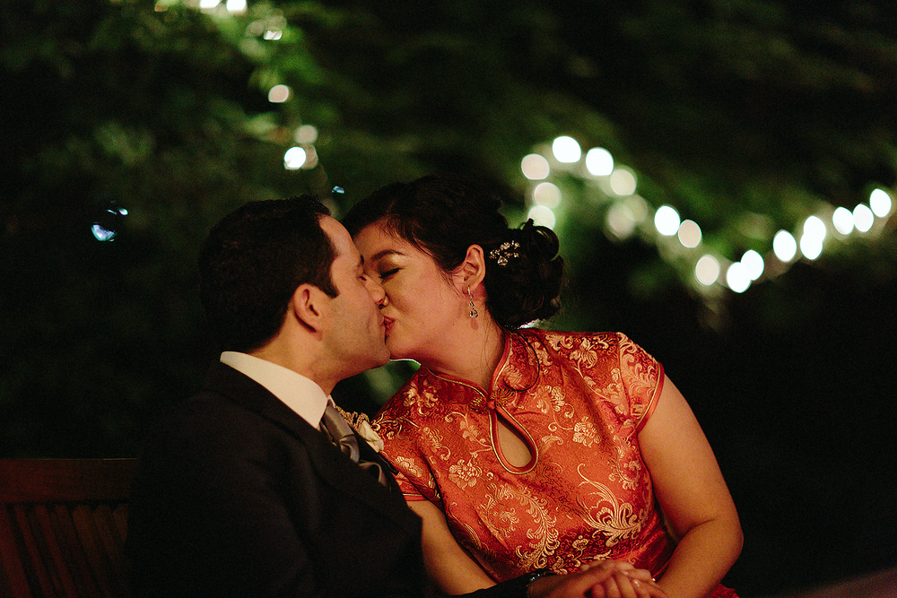 Candid kiss ends vintage Toronto Wedding