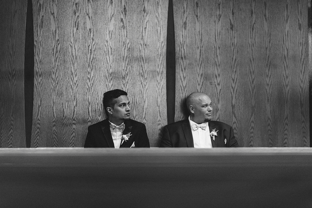 Groom looking for bride before wedding in Toronto, Ontario