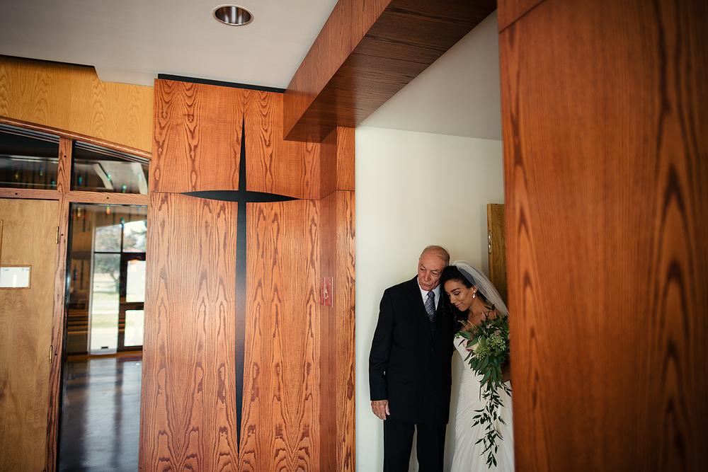 Bride and Grandfather at vintage chapel in Scarborough, ON