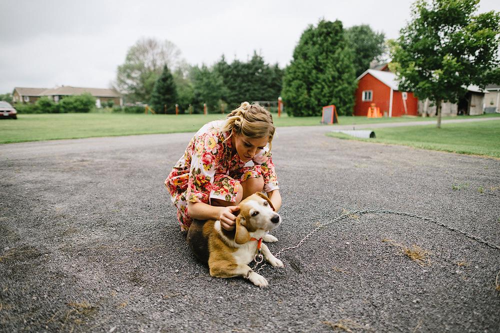 Ottawa-Farm-Wedding-Hipster-Vintage-Rustic-Film-Kodak-Portra-Fuji-Pro-400h-TriX-Abstract-Fine-Art-Wedding-Photography_--Bride-and-Dog.jpg