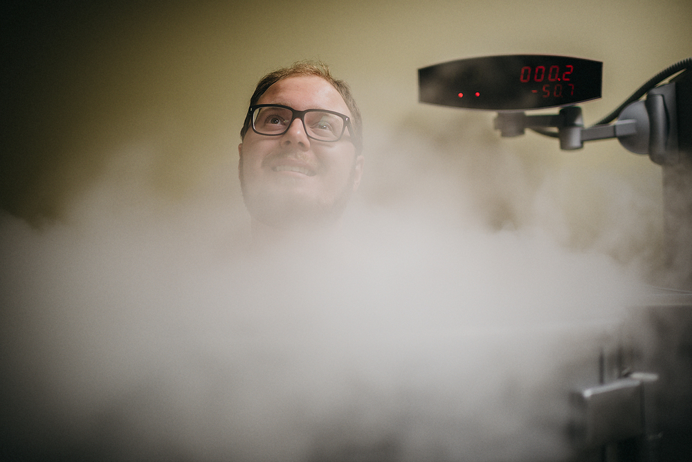 Toronto Star reporter Michael Robinson sits inside a cryotherapy machine at the Cryotherapy Health and Wellness facility. The three minute procedure is said to have multiple health benefits including better sleep, pain relief and weight loss. - The Toronto Star