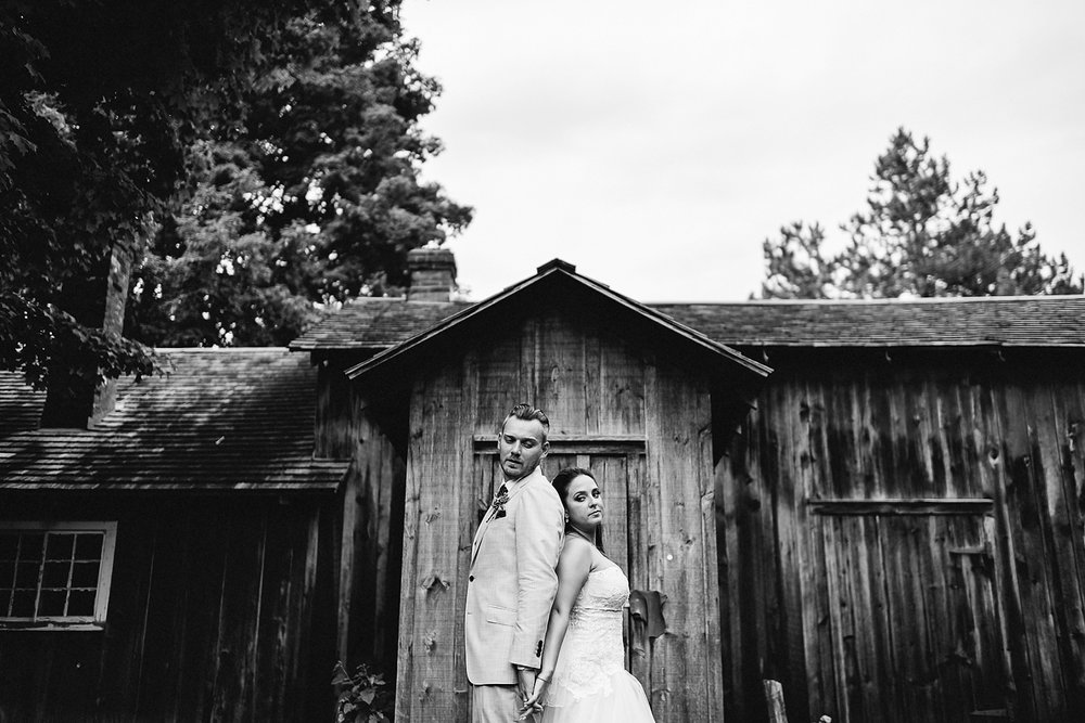 Toronto Ontario wedding photographer 3B Photography at Black Creek Pioneer Village intimate wedding portrait of bride and groom moody and vintage style