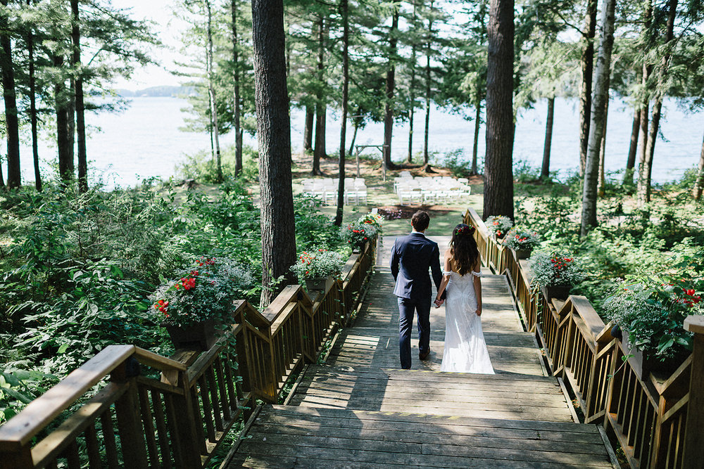 Muskoka-Cottage-Wedding-Photography-Photographer_Photojournalistic-Documentary-Wedding-Photography_Vintage-Bride-Sherwood-Inn-Lakeside-Ceremony-Forest-Entrance.jpg
