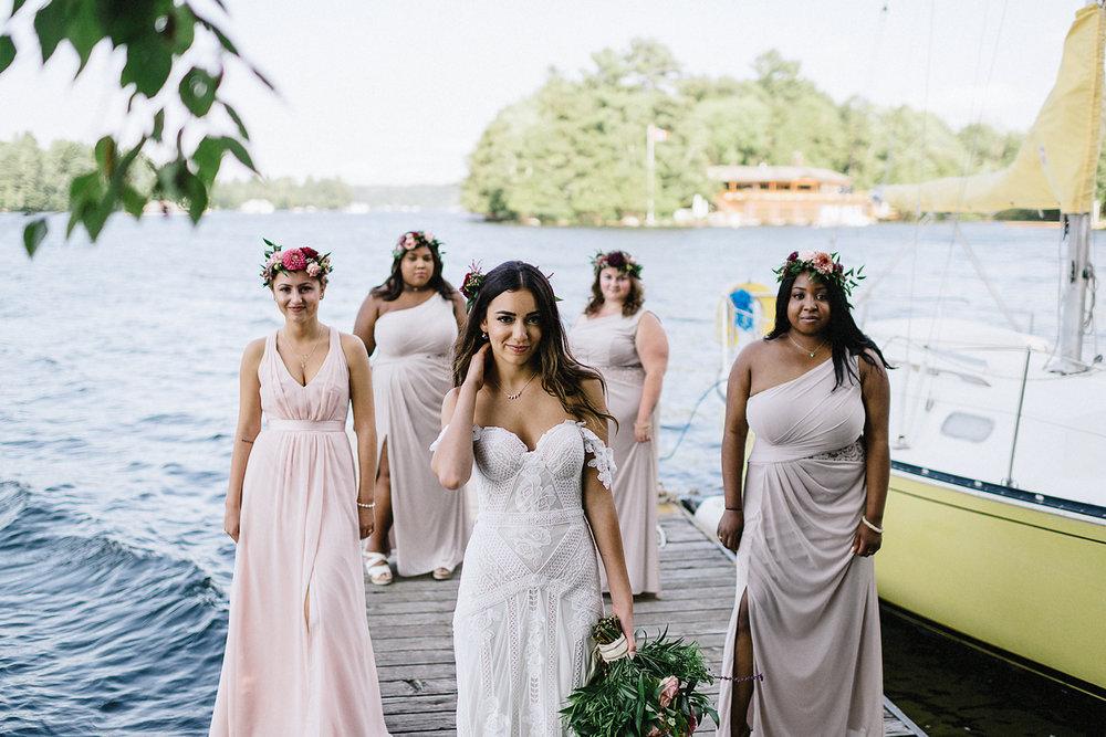 Muskoka-Cottage-Wedding-Photography-Photographer_Photojournalistic-Documentary-Wedding-Photography_Vintage-Bride-Lovers-Land-Dress_Rue-Des-Seins_Boho-Bride-and-bridal-party-badass-pose.jpg