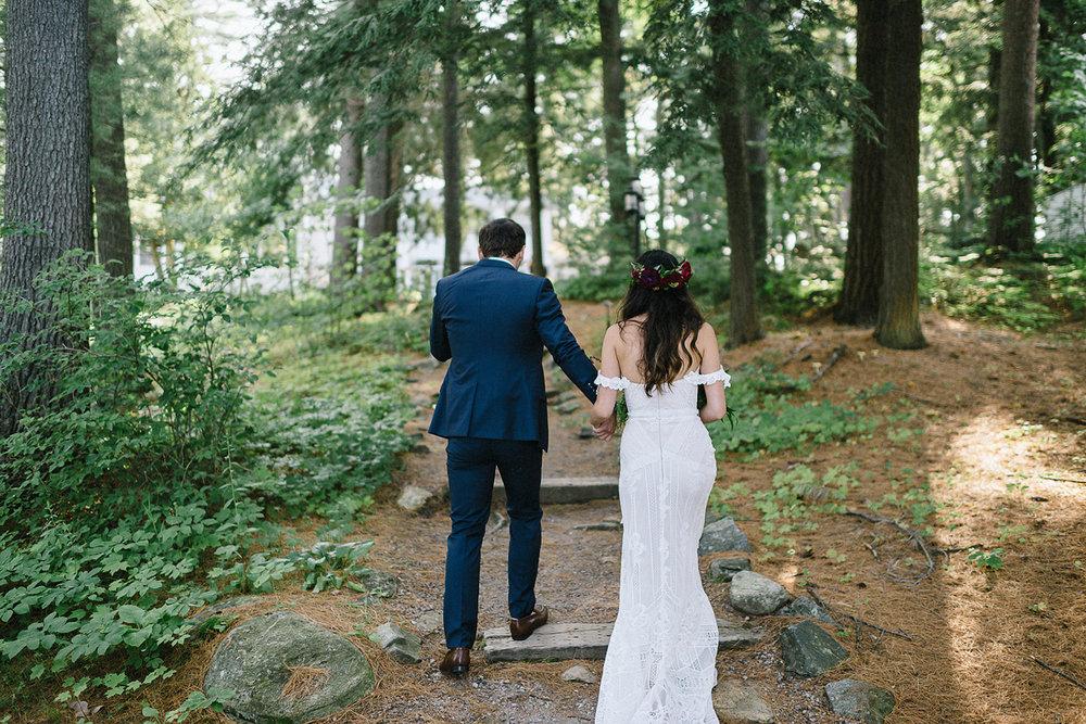 Muskoka-Cottage-Wedding-Photography-Photographer_Photojournalistic-Documentary-Wedding-Photography_Vintage-Bride-Sherwood-Inn-Lakeside-Ceremony-Space-Bride-and-Groom-in-Forest.jpg